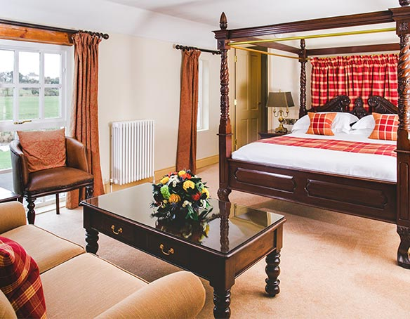 The Master Distiller's Suite at The Bushmills Inn sofa, bed and coffee table